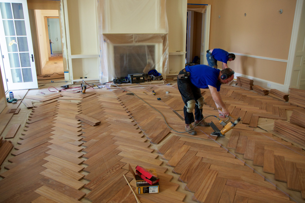 Cumaru herringbone installation in process - 2011-04-11 at 14-27-53